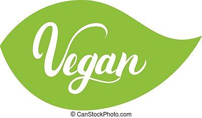 vegan, mano scritta, iscrizione, su, foglia verde, per, cibo, disegno, caffè, menu.