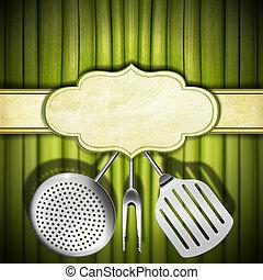 Vegan Menu Template - Background with green vegetables, ...