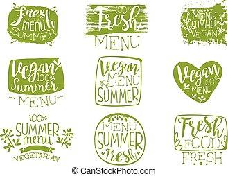 Vegan Menu Vintage Stamp Collection
