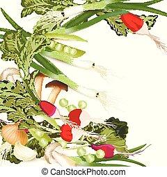 Vegan organic vector illustration with green vegetables, onion, mushrooms, raddish, peas