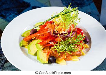 Vegan organic vegetable salad