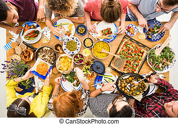 Vegan party and celebration dinner