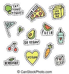 Vegan pins, stickers.