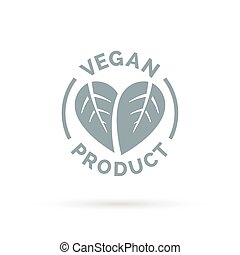 Vegan product icon with heart leaves sign