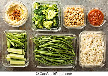 vegan, refeição, preparação, com, cozinhado, arroz
