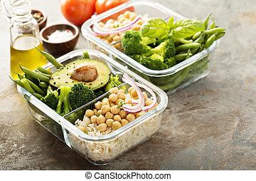 vegan, refeição, preparação, recipientes, com, cozinhado, arroz, e, chickpeas