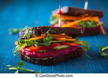 Vegan sandwiches - gluten free vegan sandwiches with beet...