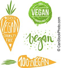 vegan set - collection of hand drawn vegan labels with...