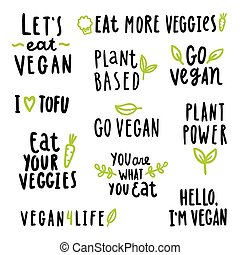 Vegan signs set. Vector hand written text