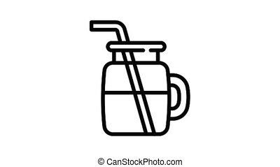 Vegan smoothie icon animation outline best object on white background