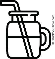 Vegan smoothie icon, outline style