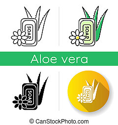 Vegan soap icon. Bathing product with aloe vera. Natural cosmetic for personal hygiene. Cleansing treatment and dermatology. Linear black and RGB color styles. Isolated vector illustrations