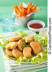 vegan soy nuggets and sweet potato fries healthy meal