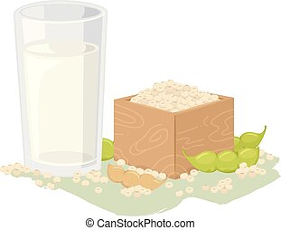 Vegan Soya Milk Illustration