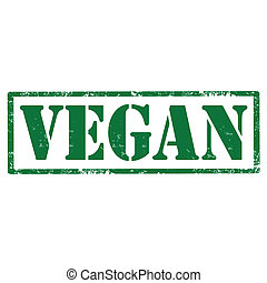 Vegan-stamp - Grunge rubber stamp with text Vegan,vector...