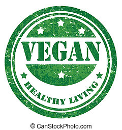 Vegan-stamp - Grunge rubber stamp with text Vegan,vector...