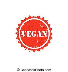VEGAN stamp sign text red.