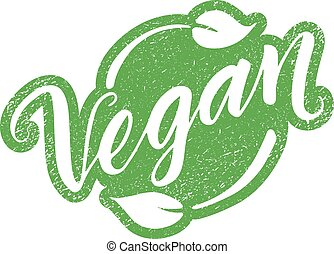 Vegan stamp with hand drawn lettering isolated on white. ...