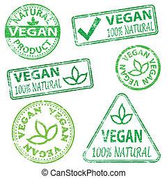 Vegan Stamps - Vegan and natural food. Rubber stamp vector...