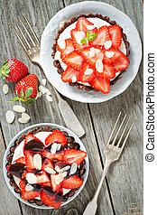 vegan, tartelette, mit, frische erdbeeren