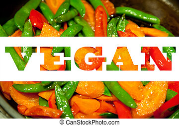 Vegan text made of vegetable food