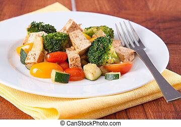 Vegan Tofu Meal - Healthy vegan meal of spiced Tofu and...