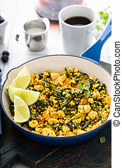 Vegan tofu scramble for breakfast - Vegan tofu scramble with...