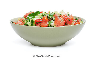 Vegan vegetable salad in a bowl isolated on white