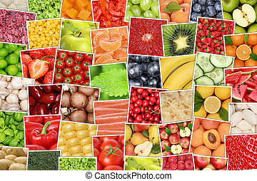 Vegan vegetarian fruits and vegetables background with tomatoes, apples, oranges
