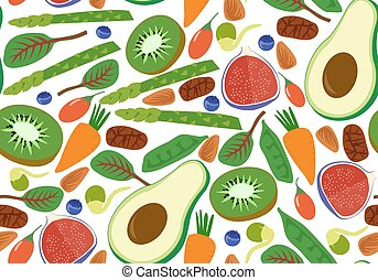 Vegan vegetarian seamless pattern. Fruits and vegetables background avocado kiwi spinach chard raw cacao goji berry bean sprout. Vector