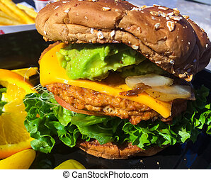 Vegan Veggie Burger - Healthy eating at a burger restaurant...