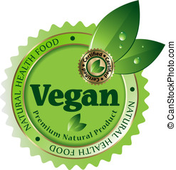 vegan, vetorial, label/sticker/emblem