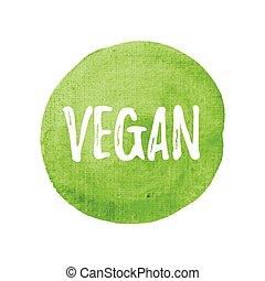 vegan, vettore, su, mano, disegnato, verde, acquarello, fondo, illustrazione