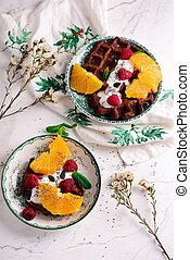 Vegan waffles with fresh fruits. selective focus.