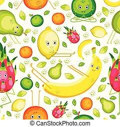 Fruits do yoga. Seamless pattern. Banana, lemon, orange, apple, pear, pitahaya