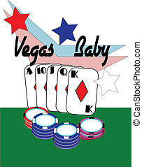 vegas baby - conceptual for poker hand with chips at...