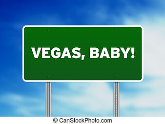 vegas, bebé, señal de autopista