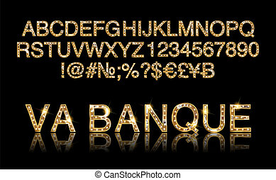 Vegas Casino or Retro Broadway Style Night Font. Gold and...