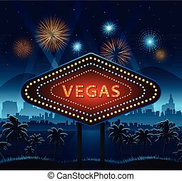 Vegas city sign at night and background lights fireworks