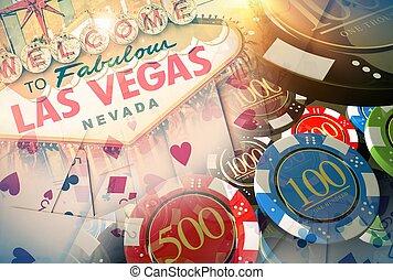 vegas, concepto, juegos, casino