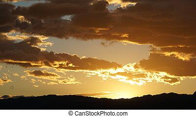 vegas, coucher soleil, las