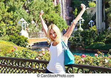 vegas., parc, vacances, girl, las, heureux