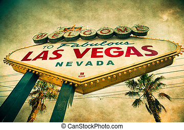 Vegas Sign - Famous Welcome to Las Vegas sign with vintage...