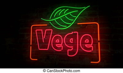 Vege restaurant neon on brick wall - Vege restaurant neon...
