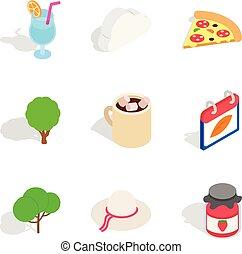 Vegen meal icons set, isometric style