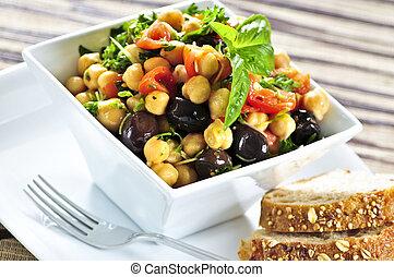 vegetáriánus, csicseriborsó, saláta