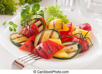 vegetáriánus, finom, pörkölt, kockázás, friss növényi