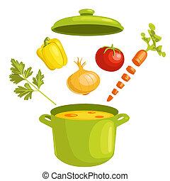 vegetabilsk suppe, hos, ingredienser