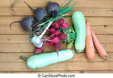 vegetabl, vida, todavía, raíz, fresco