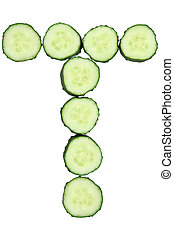 Vegetable Alphabet of chopped cucumber  - letter T